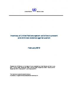 Inventory of United Nations system activities to prevent and eliminate violence against women. February 2012