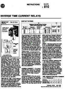 INVERSE TIME CURRENT RELAYS