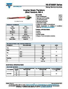 Inverter Grade Thyristors (Stud Version), 300 A