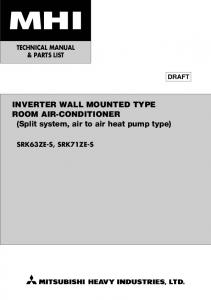INVERTER WALL MOUNTED TYPE ROOM AIR-CONDITIONER (Split system, air to air heat pump type)