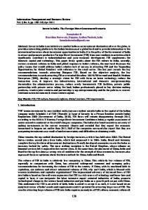 Invest In India The Foreign Direct Investment Scenario. Kamaladevi B Dravidian University, Kuppam, Andhra Pradesh, India