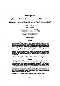 Investigación Qué fue de la historia de amor de Adán y Eva? Whatever happened to Adam and Eve s relationship?