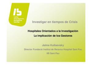 Investigar en tiempos de Crisis