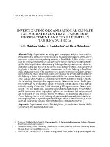 INVESTIGATING ORGANISATIONAL CLIMATE FOR MIGRATED CONTRACT LABOURS IN CHOSEN CEMENT AND TEXTILE UNITS IN TAMILNADU, INDIA