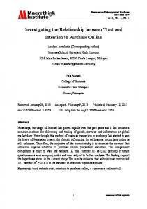 Investigating the Relationship between Trust and Intention to Purchase Online