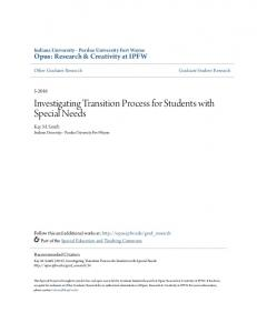 Investigating Transition Process for Students with Special Needs