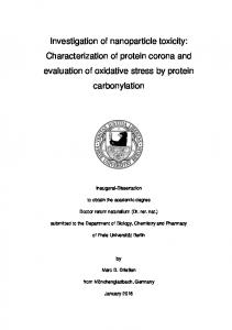 Investigation of nanoparticle toxicity: Characterization of protein corona and evaluation of oxidative stress by protein carbonylation