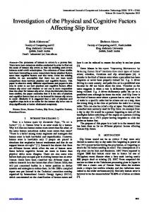 Investigation of the Physical and Cognitive Factors Affecting Slip Error