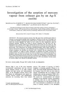 Investigation of the sorption of mercury vapour from exhaust gas by an Ag-X zeolite