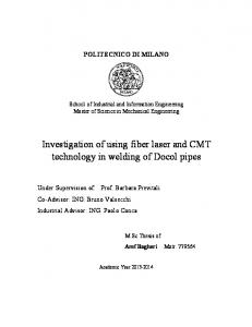 Investigation of using fiber laser and CMT technology in welding of Docol pipes