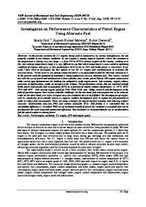 Investigation on Performance Characteristics of Petrol Engine Using Alternate Fuel