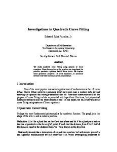 Investigations in Quadratic Curve Fitting
