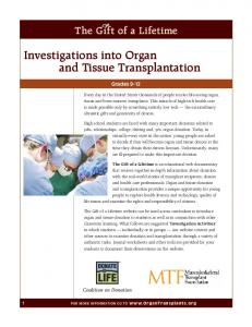 Investigations into Organ and Tissue Transplantation