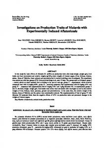Investigations on Production Traits of Mulards with Experimentally Induced Aflatoxicosis