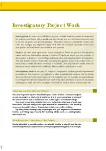 Investigatory Project Work NCERT