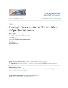 Investing in Communication for Nutrition Related to Agriculture in Ethiopia