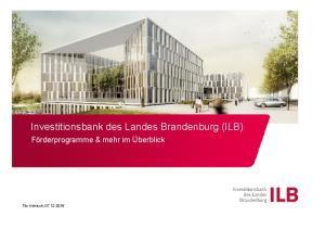 Investitionsbank des Landes Brandenburg (ILB)