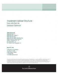 Investment Adviser Brochure Form ADV Part 2A Disclosure Statement