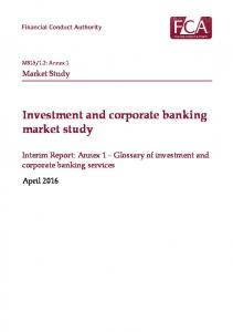 Investment and corporate banking market study