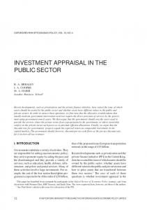 INVESTMENT APPRAISAL IN THE PUBLIC SECTOR