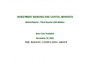INVESTMENT BANKING AND CAPITAL MARKETS THE BOSTON CONSULTING GROUP