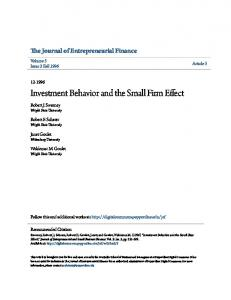 Investment Behavior and the Small Firm Effect
