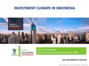 INVESTMENT CLIMATE IN INDONESIA