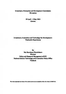 Investment, Enterprise and Development Commission 5th session. 29 April - 3 May 2013 Geneva