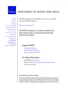 INVESTMENT IN PEOPLE AND IDEAS