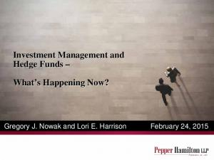 Investment Management and Hedge Funds What s Happening Now?