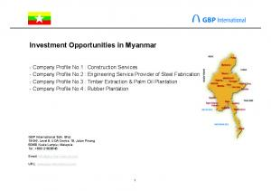 Investment Opportunities in Myanmar