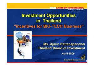 Investment Opportunities in Thailand