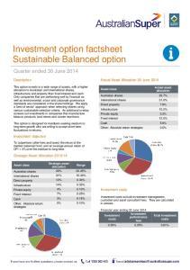 Investment option factsheet Sustainable Balanced option