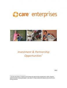 Investment & Partnership Opportunities 1