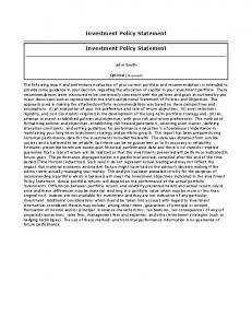 Investment Policy Statement. Investment Policy Statement