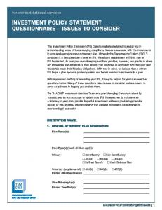 INVESTMENT POLICY STATEMENT QUESTIONNAIRE ISSUES TO CONSIDER
