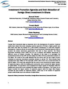 Investment Promotion Agencies and their Attraction of Foreign Direct Investment in Ghana