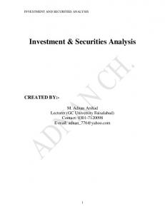 Investment & Securities Analysis