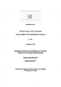 Investments Abroad and Performance at Home Evidence from Italian Multinationals