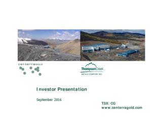 Investor Presentation. September 2016 TSX: CG