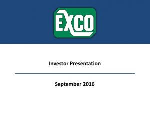 Investor Presentation. September 2016