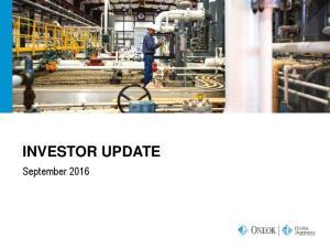 INVESTOR UPDATE. September 2016