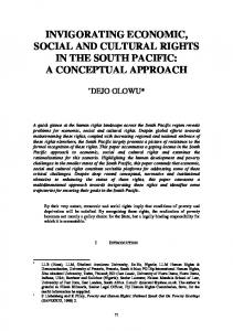 INVIGORATING ECONOMIC, SOCIAL AND CULTURAL RIGHTS IN THE SOUTH PACIFIC: A CONCEPTUAL APPROACH
