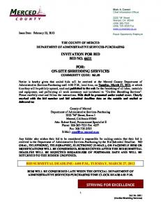 INVITATION FOR BID BID NO FOR: ON-SITE SHREDDING SERVICES COMMODITY CODE: