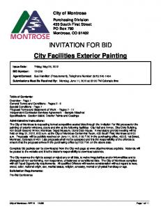 INVITATION FOR BID City Facilities Exterior Painting