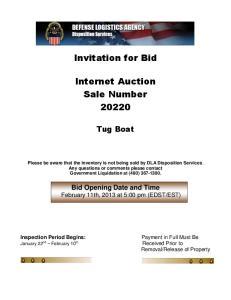 Invitation for Bid. Internet Auction Sale Number 20220