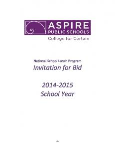 Invitation for Bid School Year
