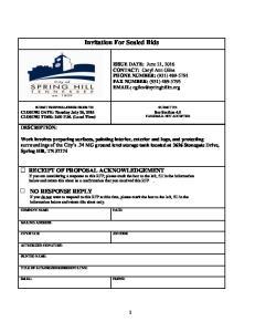 Invitation For Sealed Bids