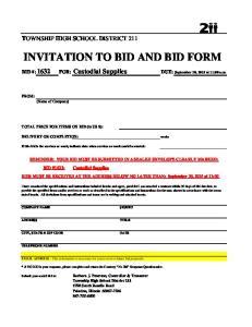 INVITATION TO BID AND BID FORM
