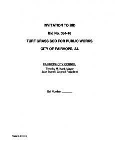 INVITATION TO BID. Bid No TURF GRASS SOD FOR PUBLIC WORKS CITY OF FAIRHOPE, AL